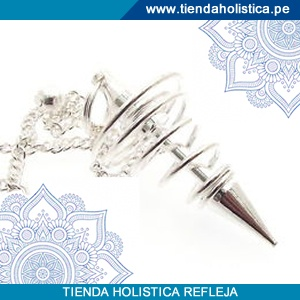 Pendulo Plateado de Metal Espiral
