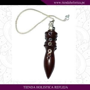 Pendulo Madera Rosa con piedras de los chakras
