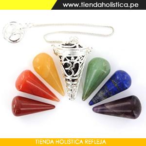 Pendulo JaulaTriquetra Chakra mas 07 Conos de Piedras tallados de los Chakras