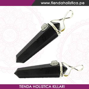 Black Tourmaline with Moonstone Dpoint pendant _ Dije Turmalina Negra - Tienda Holistica Killari