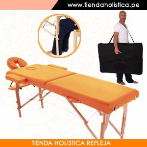 Camilla Plegable de Madera Haya Alemana con Estuche de transporte de regalo Color Naranja_001