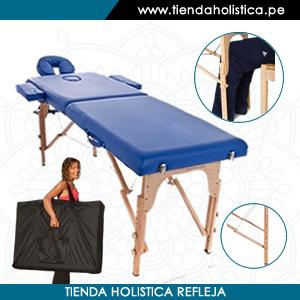 Camilla Plegable de Madera Haya Alemana con Estuche de transporte de regalo Color azul_001
