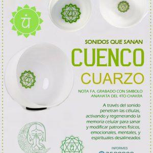 """Cuenco de Cuarzo 12"""" Grabado Anahata 4to chakra"""